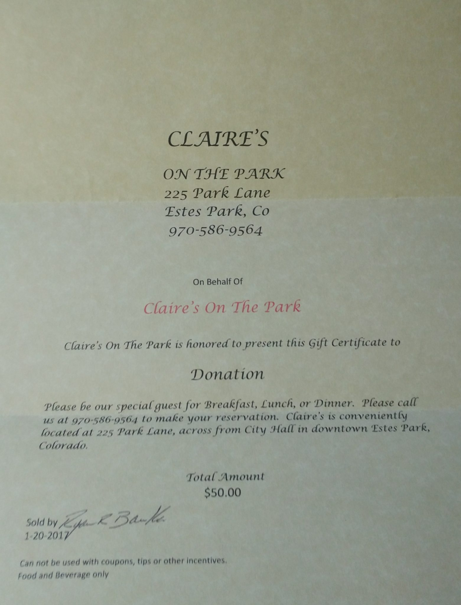 Claires On The Park Certificate 50 Value Animal Rescue Of The